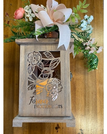 Wooden Lantern with Light Pink Swag Gifts