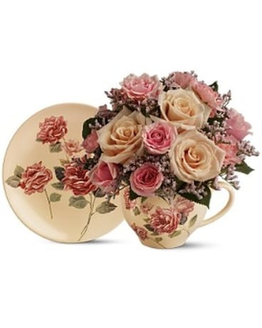 Teleflora's Victorian Teacup Bouquet Flower Arrangement