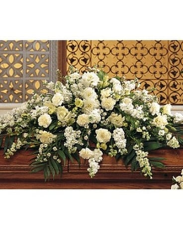 Pure White Casket Spray Flower Arrangement
