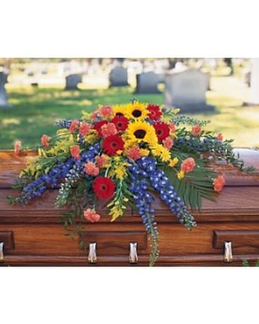 Vibrant Summer Casket Spray Flower Arrangement