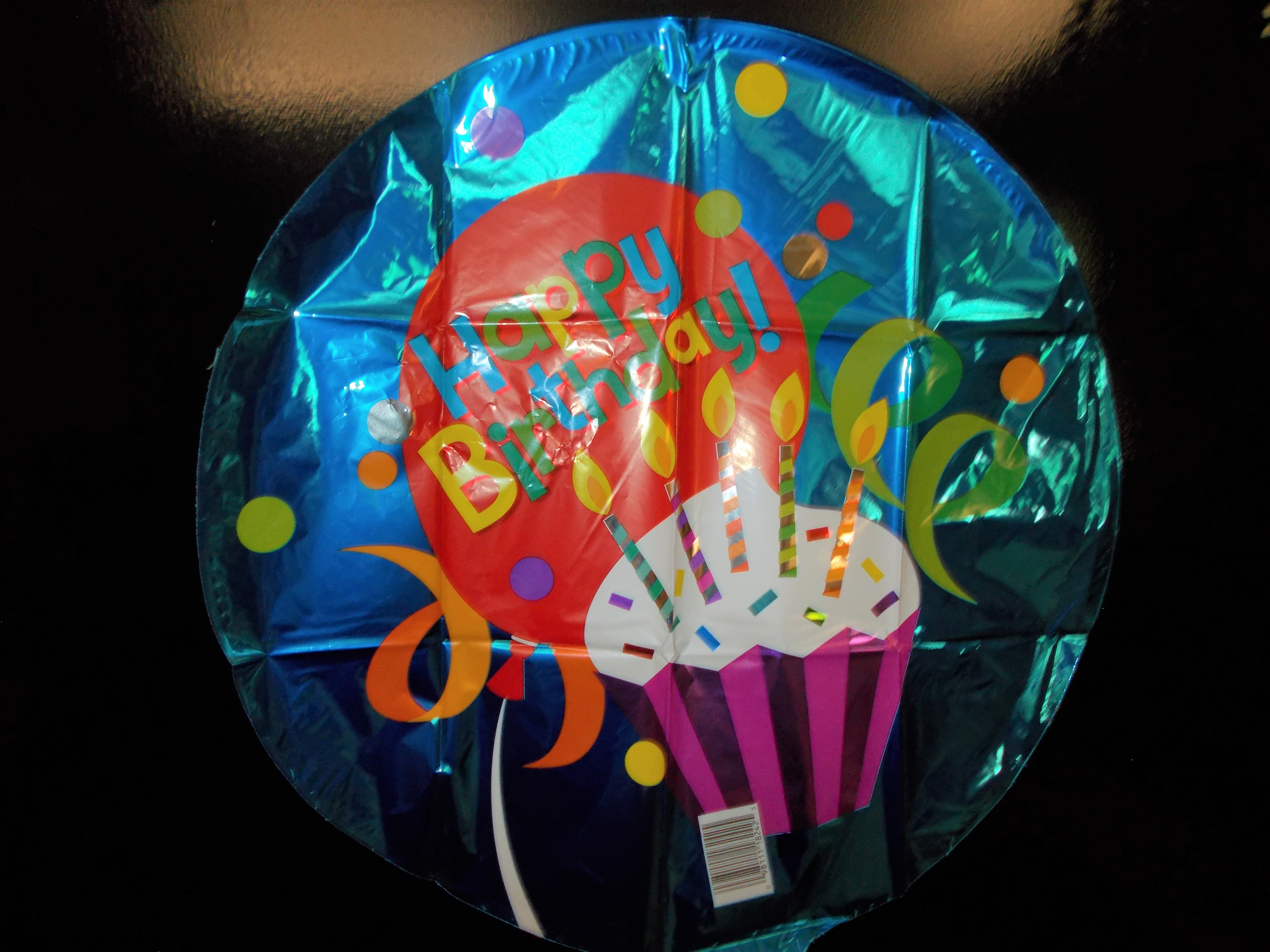 Mylar Happy Birthday with cupcake and candles