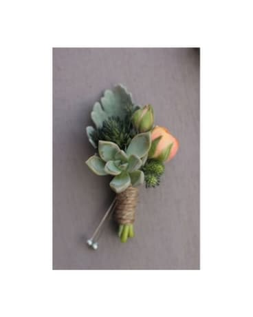 Succulent and Spray Rose Boutonniere