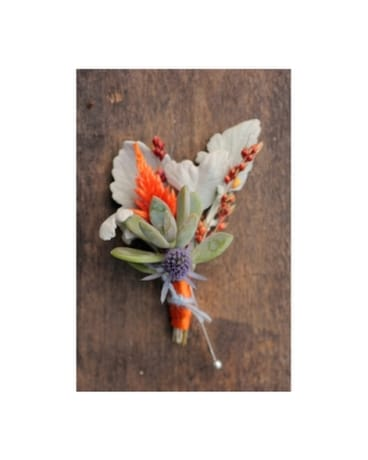 Succulent Orange Boutonniere