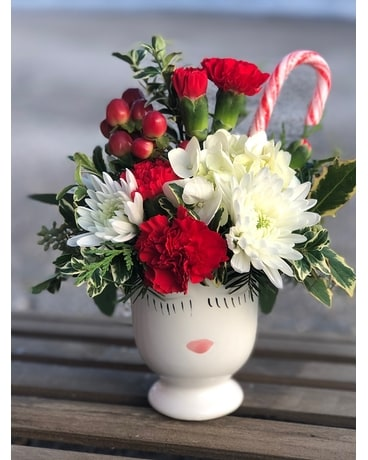 Candy Cane Kiss Flower Arrangement