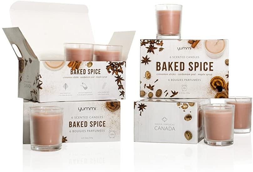 Yummi Baked Spice set of 6 scented candle jars 18hour