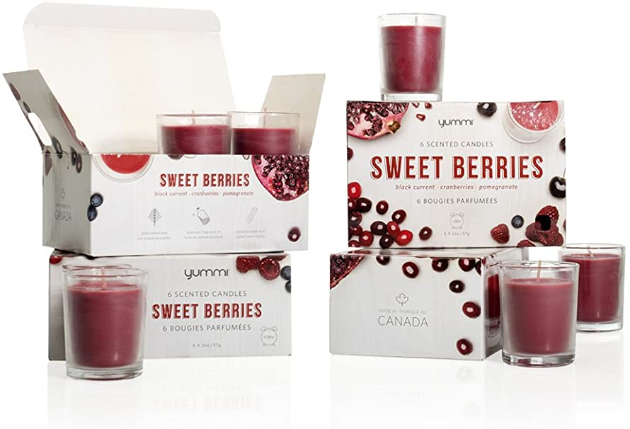 Yummi Sweet Berries Set of 6 Candles 18hour