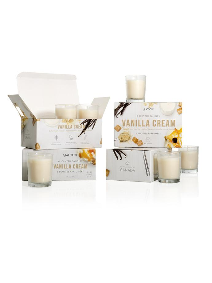 Yummi Vanilla Cream Scented 6 Candle Jars set 18 hour burn