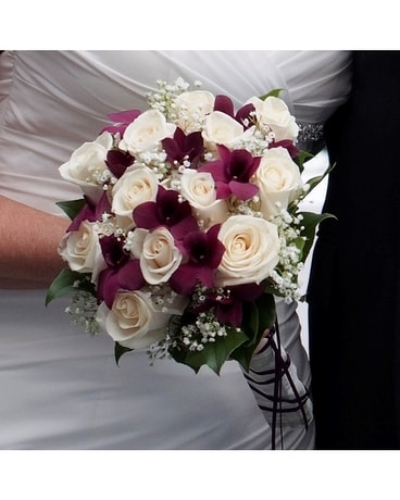 Hand Tied White Rose Purple Orchid Bouquet In Ajax On Reed S
