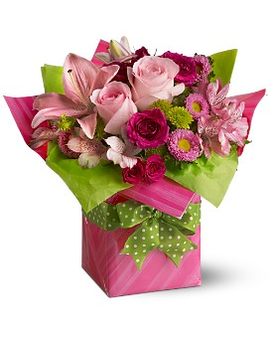 Teleflora's Pretty Pink Present Flower Arrangement