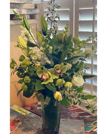 Sympathy in White Flower Arrangement