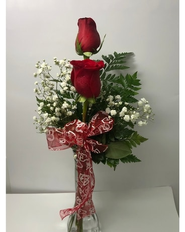 Two Roses Vased Flower Arrangement