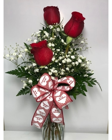 Three Red Roses Flower Arrangement