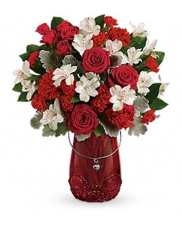 Teleflora's Red Haute Bouquet Flower Arrangement