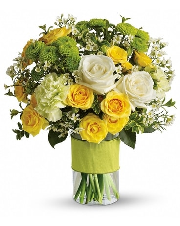 Yellow and green floral arrangements from plaza flowers quick view your sweet smile mightylinksfo