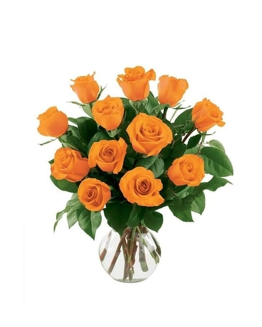 12 Orange Roses Flower Arrangement