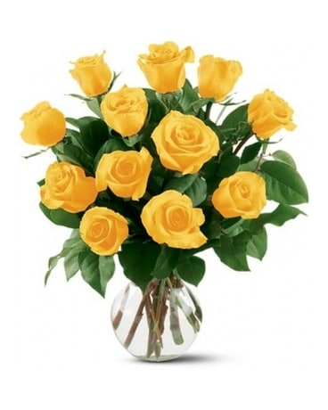 12 Yellow Roses Flower Arrangement