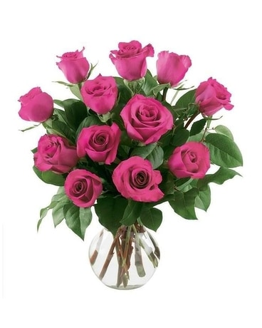 12 Hot Pink Roses Flower Arrangement