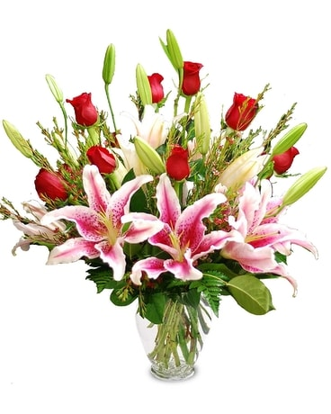 Valentine Roses and Stargazers Flower Arrangement