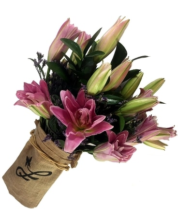 Hand-Wrapped Lily Bouquet Flower Arrangement