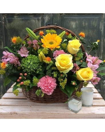 Basket of Blissful Blooms Flower Arrangement