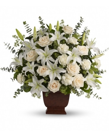 Loving Lilies and Roses Bouquet Funeral Arrangement