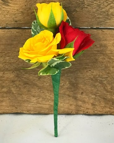 Yellow & Red Spray Rose Boutonniere Flower Arrangement