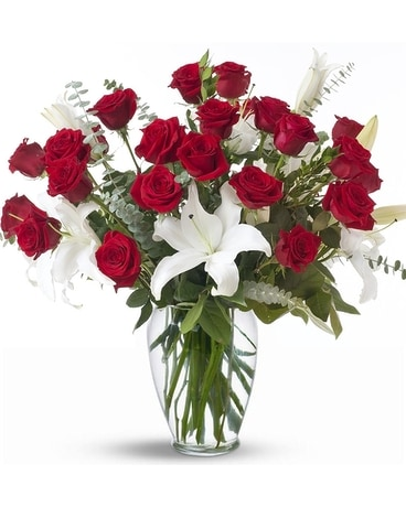 Majestic Lilies and Roses Flower Arrangement