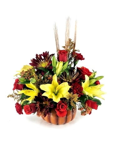 Fall Enchantment Pumpkin Flower Arrangement