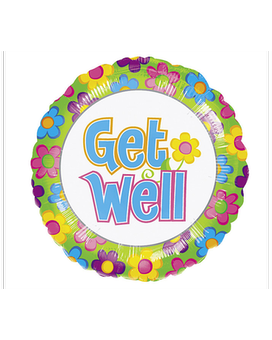 Get Well Floral Mylar Balloon