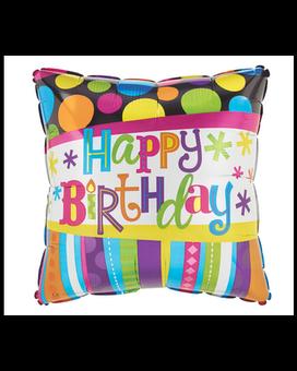 Quick View Dots Stripes Mylar Birthday Balloon