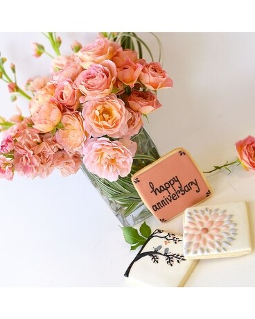 Happily Forever After + Crush Sweet Cookies - Flower Arrangement