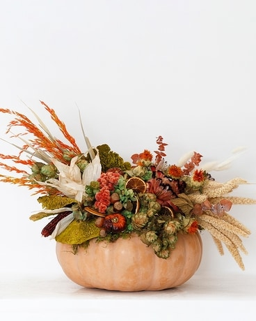 Handcrafted Pumpkins With Preserves - Large Flower Arrangement