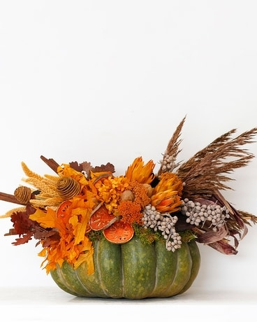 Handcrafted Pumpkins with Preserves - Cinderella L Flower Arrangement