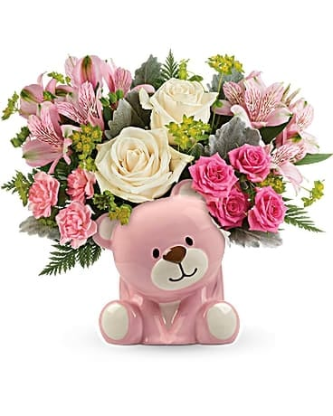 Teleflora's Precious Pink Bear Bouquet Flower Arrangement