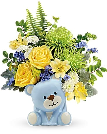 Teleflora's Joyful Blue Bear Bouquet Flower Arrangement