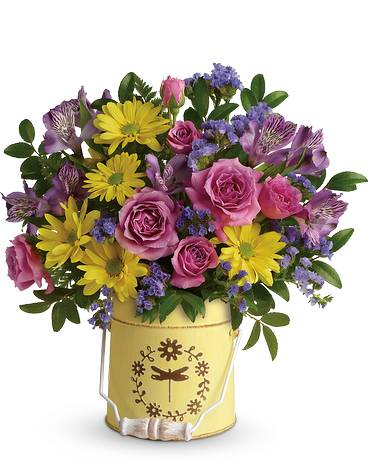 Teleflora's Blooming Pail Bouquet Flower Arrangement
