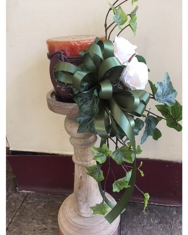 Candle Stick With Candle & Silk Flowers Flower Arrangement