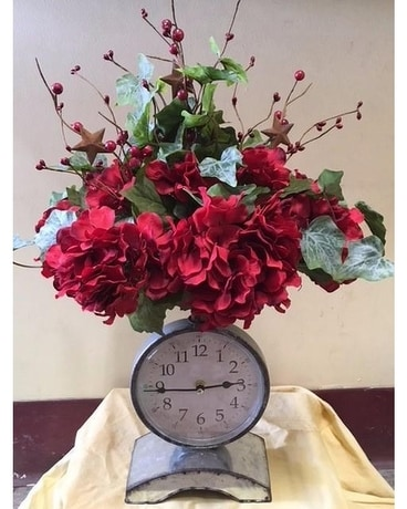 Clock Flower Arrangement