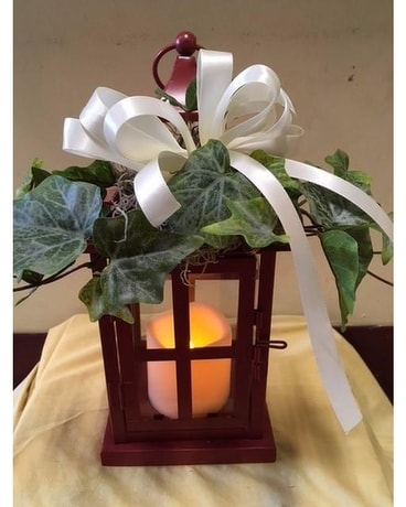 Red Metal Lantern With Timer Candle & Silk Ivy Flower Arrangement