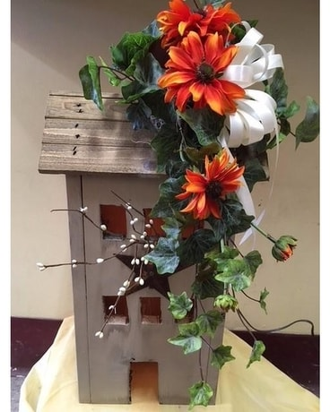 Wooden Lighted House Flower Arrangement
