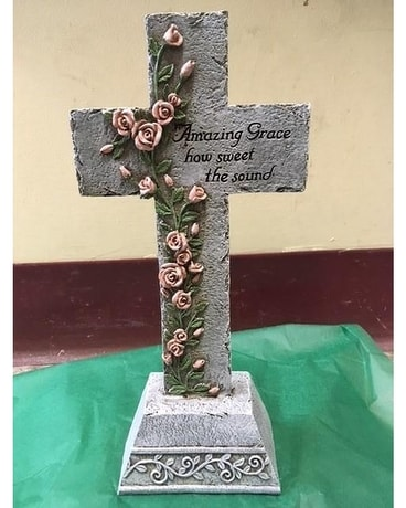 Resin Cross Amazing Grace Flower Arrangement