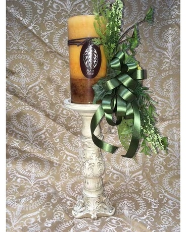 Candle Stick with Silk Flowers and Candle Flower Arrangement