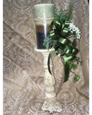 Candlestick with Silk Flowers and Candle Flower Arrangement