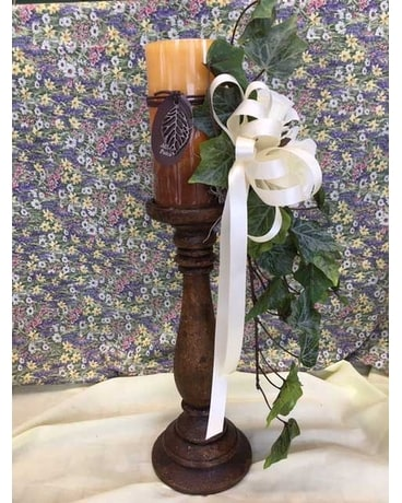 Candlestick with Triple Color Candle Flower Arrangement