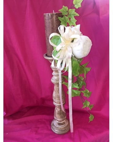 Candle Stick with Marble Candle Flower Arrangement