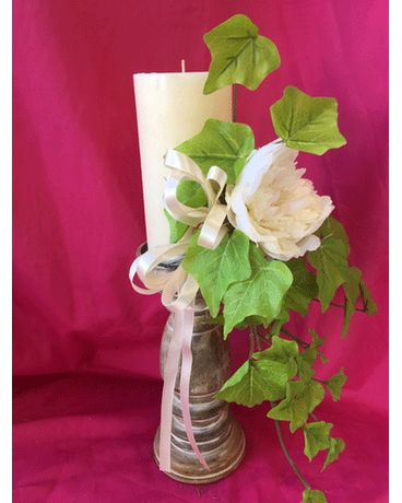 Candle Stick W/ Marble Candle Flower Arrangement