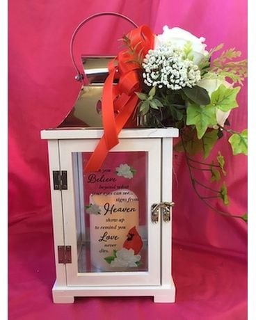 Lantern with Timer Candle Flower Arrangement