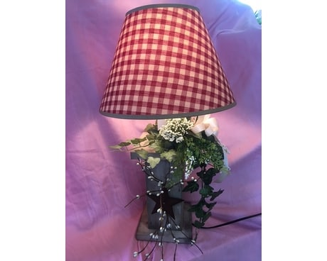 Primitive lamp with Silk Ivy and Bo Flower Arrangement