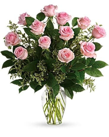 Dozen Light Pink Roses Flower Arrangement