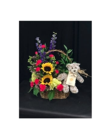 Feel Better Giving Bear Bouquet Flower Arrangement